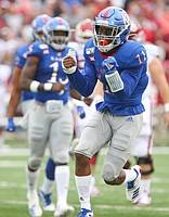 Kansas safety Mike Lee (11) bemoans a missed opportunity for an interception during the second quarter on Saturday, Oct. 5, 2019 at Memorial Stadium.