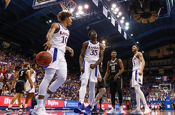 Kansas center Udoka Azubuike (35) roars after muscling his way in for a bucket and a foul during the second half, Thursday, Oct. 24, 2019 at Allen Fieldhouse.