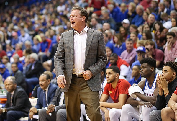 Kansas head coach Bill Self has words for Kansas forward David McCormack (33) during the second half, Thursday, Oct. 24, 2019 at Allen Fieldhouse.