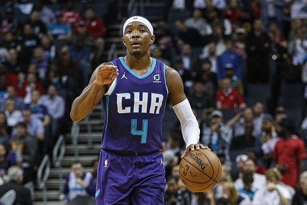 Charlotte Hornets guard Devonte' Graham brings the ball up court against the Chicago Bulls in the second half of an NBA basketball game in Charlotte, N.C., Wednesday, Oct. 23, 2019. Charlotte won 126-125. (AP Photo/Nell Redmond)