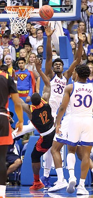 Kansas center Udoka Azubuike (35) defends against Pittsburg State forward Dejon Waters, Jr. (12) during the first half, Thursday, Oct. 31, 2019 at Allen Fieldhouse.