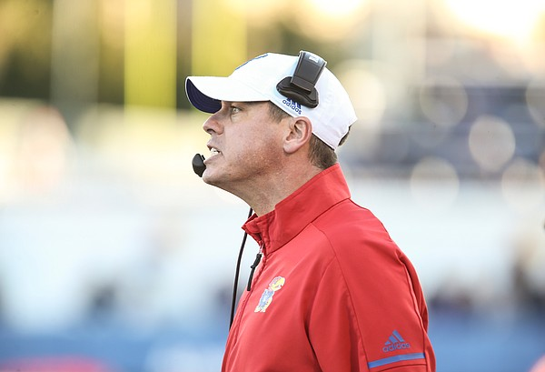 Kansas defensive coordinator D.J. Eliot shows his frustration during the fourth quarter on Saturday, Nov. 2, 2019 at Memorial Stadium.