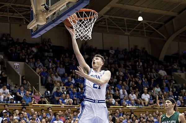 Duke's Matthew Hurt (21) jumps for a layup during an NCAA college basketball game against Northwest Missouri State in Durham, N.C., Saturday, Oct. 26, 2019. (AP Photo/Ben McKeown)