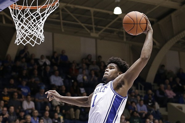 Duke center Vernon Carey Jr. (1) drives to the basket during the second half of an NCAA exhibition college against Fort Valley State in Durham, N.C., Wednesday, Oct. 30, 2019. (AP Photo/Gerry Broome)