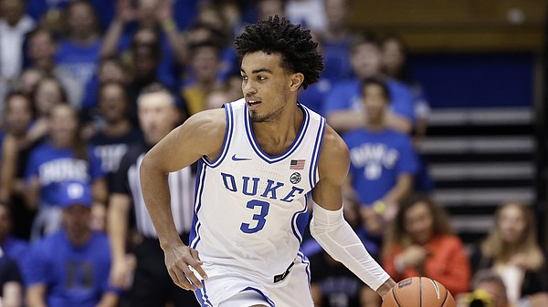 Duke guard Tre Jones (3) dribbles against Fort Valley State during the second half of an NCAA exhibition college basketball game in Durham, N.C., Wednesday, Oct. 30, 2019. (AP Photo/Gerry Broome)