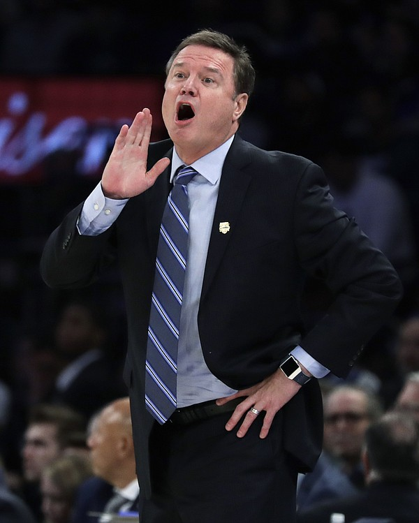 Kansas coach Bill Self shouts to his team during the second half of an NCAA college basketball game against Duke on Tuesday, Nov. 5, 2019, in New York. (AP Photo/Adam Hunger)
