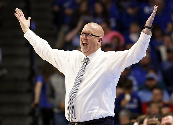 East Tennessee State head coach Steve Forbes reacts to a play during the second half of an NCAA college basketball game against Kentucky, Friday, Nov. 17, 2017, in Lexington, Ky. (AP Photo/James Crisp)