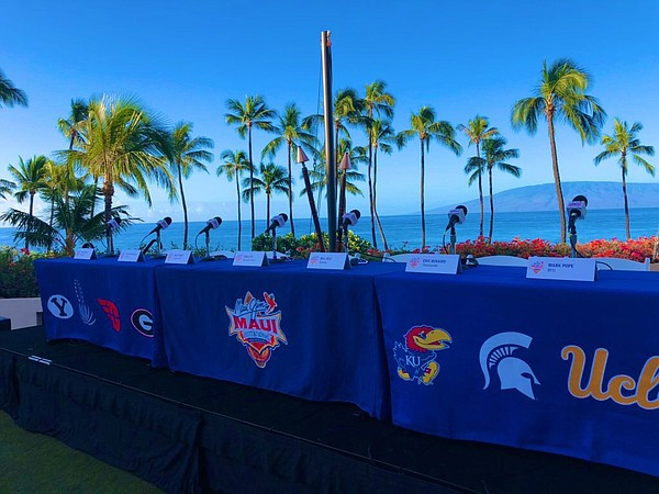 The setting and backdrop for Sunday morning's coaches press conference at the Hyatt Regency Resort and Spa in Maui.