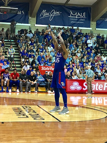 Kansas senior Udoka Azubuike follows through with his form on a practice free throw during Tuesday's 71-56 win over BYU at the Maui Invitational.