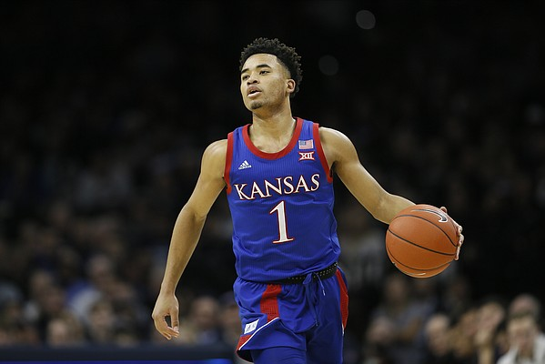 Kansas' Devon Dotson plays during an NCAA college basketball game against Villanova, Saturday, Dec. 21, 2019, in Philadelphia. (AP Photo/Matt Slocum)