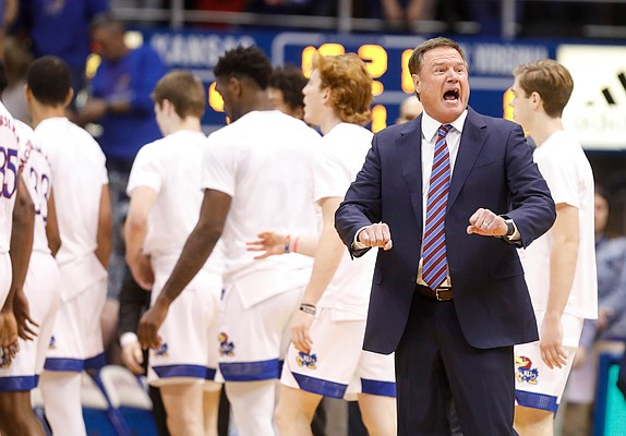 Kansas head coach Bill Self looks for a push off from a West Virginia player during the first half, Saturday, Jan. 4, 2020 at Allen Fieldhouse.