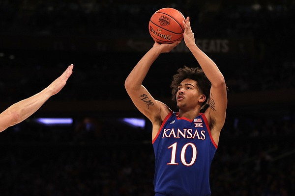 Kansas forward Jalen Wilson (10) is pictured in action against Duke during the first half of an NCAA basketball game Tuesday, Nov. 5, 2019, in New York.