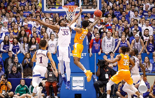 Kansas center Udoka Azubuike (35) contests a shot from Tennessee guard Jordan Bowden (23) during the second half, Saturday, Jan. 25, 2019 at Allen Fieldhouse.