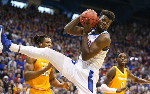 Kansas center Udoka Azubuike (35) comes away with an offensive rebound during the first half, Saturday, Jan. 25, 2019 at Allen Fieldhouse.