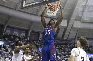 Kansas center Udoka Azubuike (35) dunks against TCU during the second half of an NCAA college basketball game, Saturday, Feb. 8, 2020 in Fort Worth, Texas. Kansas won 60-46. (AP Photo/Ron Jenkins)