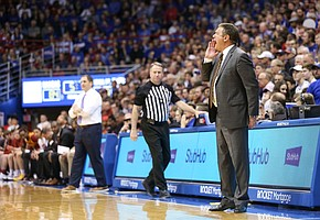 Kansas head coach Bill Self gets the attention of his players from the sideline during the second half on Monday, Feb. 17, 2020 at Allen Fieldhouse.