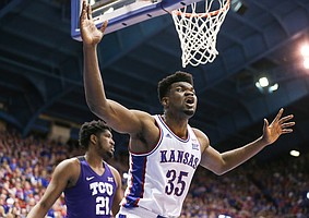 Kansas center Udoka Azubuike (35) reacts to a three second call against him during the second half, Wednesday, March 5, 2020 at Allen Fieldhouse.
