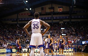 Kansas center Udoka Azubuike (35) waits at the far end of the court during the second half, Wednesday, March 5, 2020 at Allen Fieldhouse.
