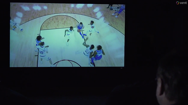 "A still image from KU's new film-room feature, ""Self Perspective"" with head basketball coach Bill Self."