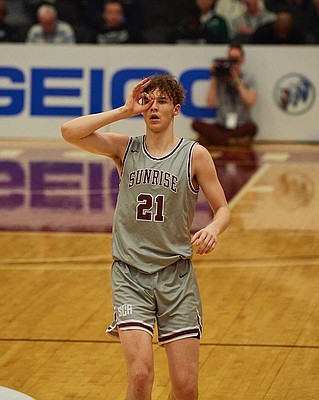 Sunrise Academy forward Zach Clemence celebrates a 3-pointer during his junior season. Clemence, a 6-foot-10, 4-star forward from Pleasanton, Texas, orally committed to Kansas on May 11, 2020.