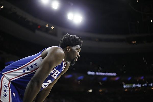 Philadelphia 76ers' Joel Embiid plays during an NBA basketball game against the Atlanta Hawks, Monday, Feb. 24, 2020, in Philadelphia.
