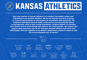"The ""Unified Against Racism"" statement released by Kansas Athletics on May 30, 2020."