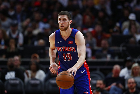 Detroit Pistons guard Sviatoslav Mykhailiuk plays against the Brooklyn Nets in the second half of an NBA basketball game in Detroit, Saturday, Jan. 25, 2020. (AP Photo/Paul Sancya)