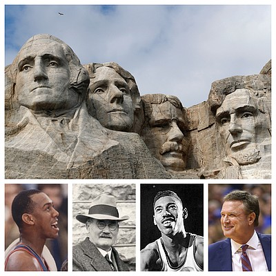 One of Matt Tait's three versions of a Kansas basketball Mount Rushmore, from left to right, Danny Manning, James Naismith, Wilt Chamberlain and Bill Self. (Journal-World & AP file photos)