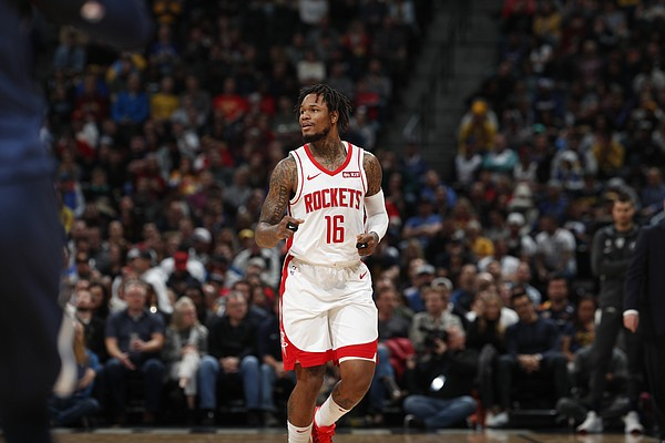Houston Rockets guard Ben McLemore (16) in the first half of an NBA basketball game Wednesday, Nov. 20, 2019, in Denver.