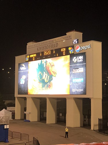 The clock on the video board at David Booth Kansas Memorial Stadium counts down to kickoff before KU's season opener against Coastal Carolina on Saturday, Sept. 12, 2020.