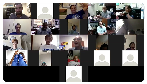 A portion of this week's Zoom call with ESPN host Maria Taylor and the Kansas basketball team, during which Taylor, in the bottom left corner, is showing off her blue KU basketball shoes to the group.