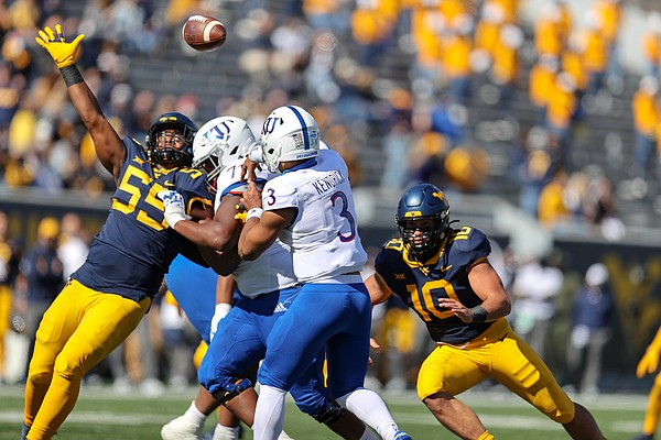 MORGANTOWN, WV - OCTOBER 17: Kansas Jayhawks quarterback Miles Kendrick (3) throws a pass during the first quarter of the college football game between the Kansas Jayhawks and the West Virginia Mountaineers on October 17, 2020, at Mountaineer Field at Milan Puskar Stadium in Morgantown, WV.