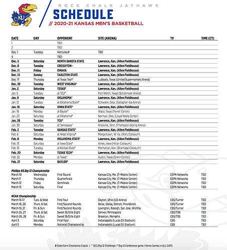 KU's 2020-21 men's basketball schedule, as of Oct. 26, 2020.