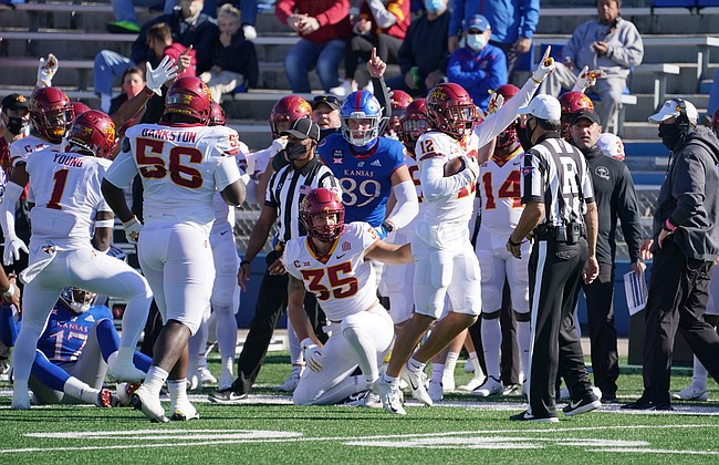 Oct 31, 2020; Lawrence, Kansas, USA; Iowa State Cyclones defensive back Greg Eisworth II (12) celebrates after recovering a fumble during the first half against the Kansas Jayhawks at David Booth Kansas Memorial Stadium. Mandatory Credit: Denny Medley-USA TODAY Sports