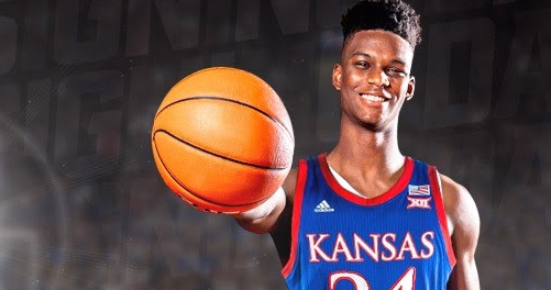 Class of 2021 Kansas basketball recruit KJ Adams made his commitment to KU official on Wednesday, Nov. 11, 2020, when he signed his national letter of intent to become a Jayhawk. (Photo courtesy of Kansas Athletics)