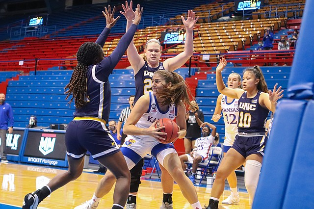 Kansas freshman Ionna Chantzileonti battles for post position against Northern Colorado Wednesday night at Allen Fieldhouse. The KU women's basketball team secured a 78-62 win over Northern Colorado in the season opener on Nov. 25, 2020.