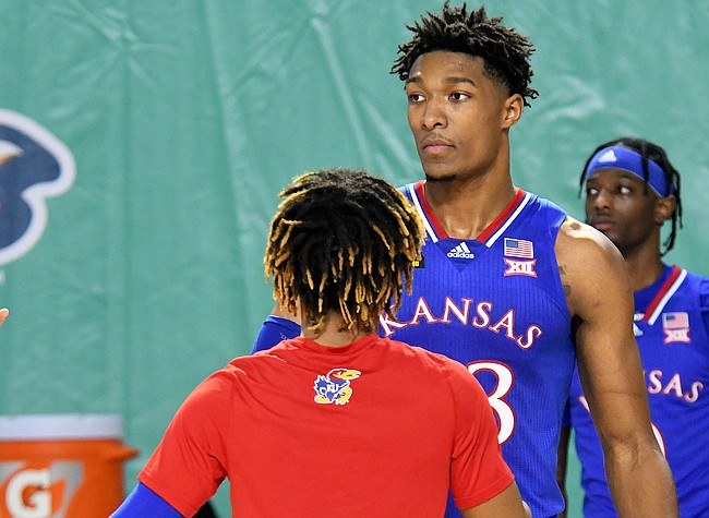 Kansas junior David McCormack is focused on what is at task against Gonzaga in the season opener on Thursday. The Bulldogs earned a 102-90 win over the Jayhawks in the third annual Rocket Mortgage Fort Myers Tip-Off on Thanksgiving Day at the Suncoast Credit Union Arena in Fort Myers on Nov. 26, 2020. Photo by Chris Tilley