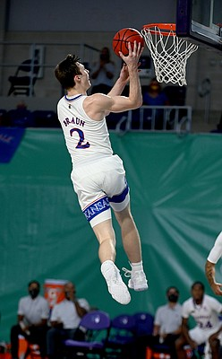 Kansas sophomore Christian Braun goes up for a shot during a game against Saint Joseph's on Friday Nov. 27, 2020. The Jayhawks earned a 94-72 win over the Hawks in the Rocket Mortgage Fort Myers Tip-Off at the Suncoast Credit Union Arena in Fort Myers, Florida.