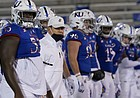 Kansas head coach Les Miles lines up with his team before an NCAA college football game against TCU in Lawrence, Kan., Saturday, Nov. 28, 2020. (AP Photo/Orlin Wagner)
