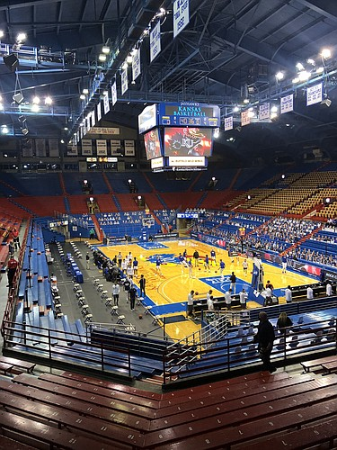 The scene inside Allen Fieldhouse about 30 minutes before KU's 2020-21 home opener against Washburn on Dec. 3, 2020.
