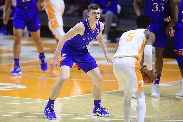 Kansas guard Christian Braun (2) defends against Tennessee guard Josiah-Jordan James (5) during a basketball game between the Tennessee Volunteers and the Kansas Jayhawks at Thompson-Boling Arena in Knoxville, Tennessee on Saturday, January 30, 2021.