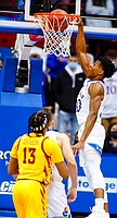 Kansas guard Ochai Agbaji (30) delivers a dunk during the first half against Iowa State on Thursday, Feb. 11, 2021 at Allen Fieldhouse.