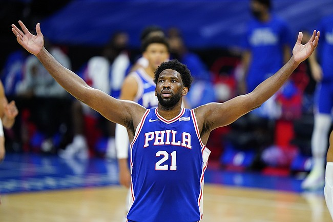 Philadelphia 76ers' Joel Embiid plays during an NBA basketball game against the Chicago Bulls, Friday, Feb. 19, 2021, in Philadelphia. (AP Photo/Matt Slocum)