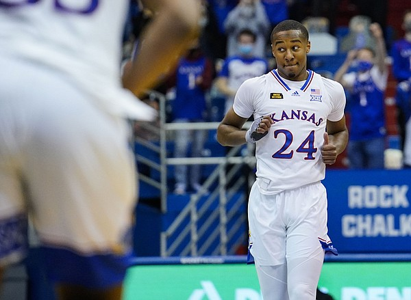 Kansas guard Bryce Thompson (24) reacts after scoring against the Texas Tech Red Raiders during the first half at Allen Fieldhouse Saturday afternoon in Allen Fieldhouse on Feb. 20, 2021. Photo by Jay Biggerstaff-USA TODAY Sports.