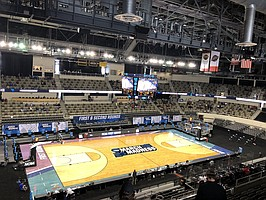 A look inside Indiana Farmers Coliseum in Indianapolis, where third-seeded Kansas knocked off No. 14 seed Eastern Washington, 93-84, in a hard-fought first-round game at the strangest edition of March Madness in history.