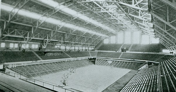 Hinkle Fieldhouse, shown here at Butler Fieldhouse in 1933, is one of college basketball's most iconic venues. (Photo courtesy butler.edu).