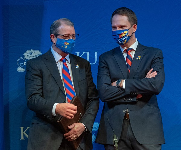 New KU Athletic Director Travis Goff, right, chats with KU Chancellor Douglas Girod during Goff's introduction on April 7, 2021 at the Lied Center.