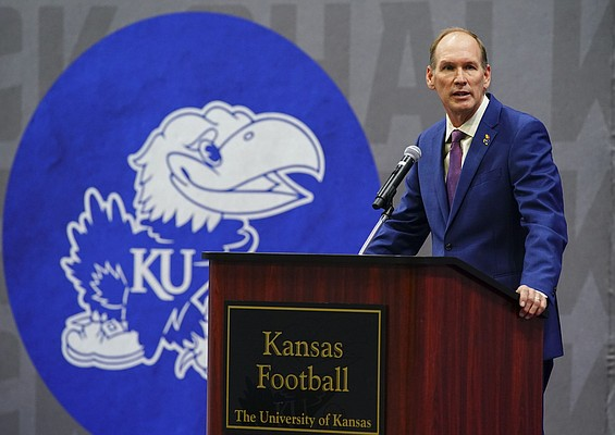 New Kansas head football coach Lance Leipold talks with media members and guests during an introductory press conference on Monday, May 3, 2021 at the KU football indoor practice facility.