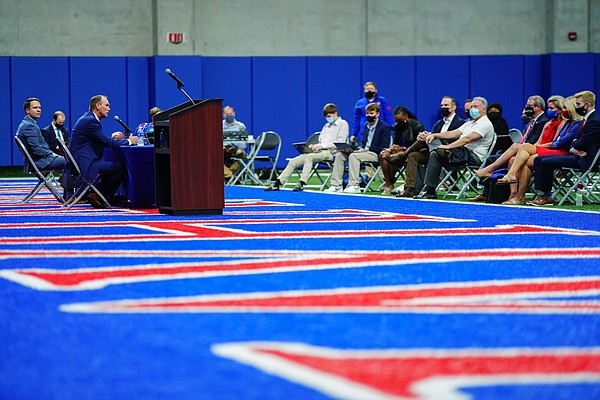 New Kansas head football coach Lance Leipold and athletic director Travis Goff sit for questions during an introductory press conference on Monday, May 3, 2021 at the KU football indoor practice facility.