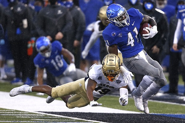Buffalo Bulls running back Kevin Marks Jr. (41) carries the ball during the first half of an NCAA college football game against the Akron Zips at UB stadium in Amherst, N.Y., Saturday Dec. 12, 2020. (AP/ Photo Jeffrey T. Barnes)